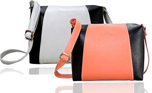 Fargo Motley PU Leather Women's Girl's Sling Bag Combo Of 2 (Peach,White_FGO-089)