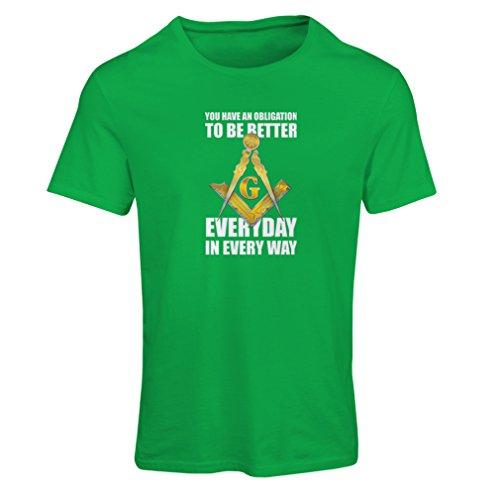 lepni.me Camiseta Mujer Los masones - para ser Mejor Cada día Cuadrado y brújula Logo Freemason - Francmasonería (X-Large Verde