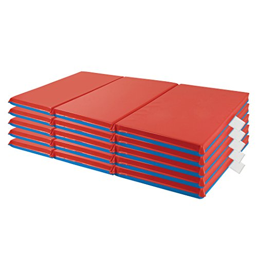 """ECR4Kids Premium 3-Fold Daycare Rest Mat, Blue and Red, 1"""" Thick Pack of 5"""