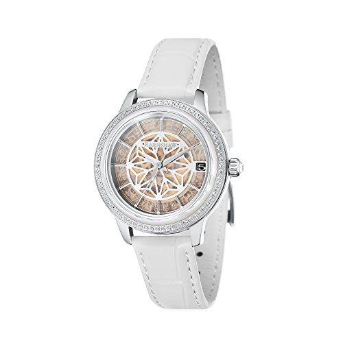 Thomas Earnshaw Damen Skeleton Automatik Smart Watch Armbanduhr mit Leder Armband ES-8064-04