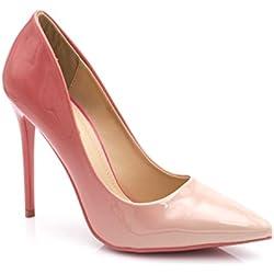 Escarpin Femme Vernis - Chaussure Escarpin Dégradées Talon Fin - Talon Aiguille Haut Sexy 11CM Multicolore - Chic Tendance (38 EU, Rose)