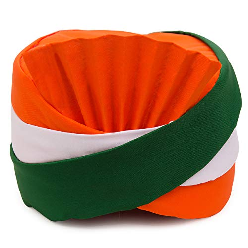 Kaku Fancy Dresses Tri Color Safa for Independence Day/Republic Day -Multicolor, Free Size, for Boys & Girls