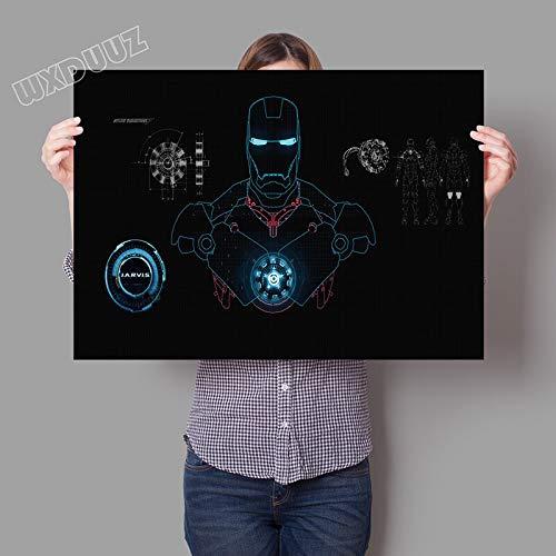 XWArtpic Superhéroe clásico Película de Ciencia ficción Cartel de Hierro hogar Decoración de la habitación de los niños Arte de la Pared Sala de Estar Dormitorio Pintura de la Lona 60 * 100cm B