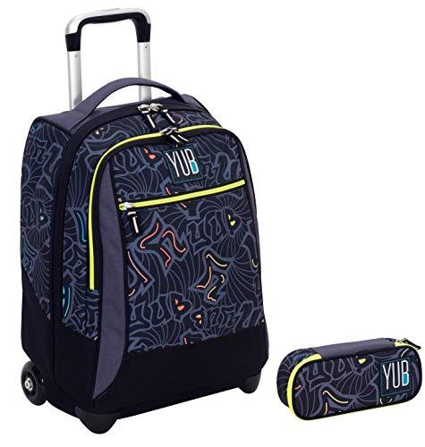 YUB Trolley Portapenne Round - Murales Nero - Scuola elementari e Medie & Viaggio 34 LT