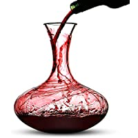 2.5L Red Wine Decanter | Oak Stopper & Cleaning Balls Included | Lead-Free Glass Aerating Wine Carafe | Perfect Gift Set | M&W