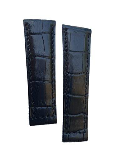 Cinturino spezzoni Vero alligatore compatibile per Rolex GMT/Daytona/Oyster 20mm (Nero)