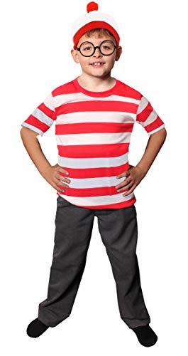 'Childs Find Me' Funny Man Niños de rayas, color blanco y rojo manga corta + Rojo y Blanco Gorro + Negro Nerd Gafas Disfraz Juego de búsqueda de Me Libro Semana de 4 – 14 años