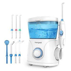 Munddusche Oral irrigator Homgeek Water Pick Dental Water Flosser Zahnreinigung Zahnpflege Professionelle Zahnreinigung mit 10 Stufenlose Wasserdruckeinstellungen 600ml Wassertank 7 Funktionsdüsen Ideal für Ganze Familie