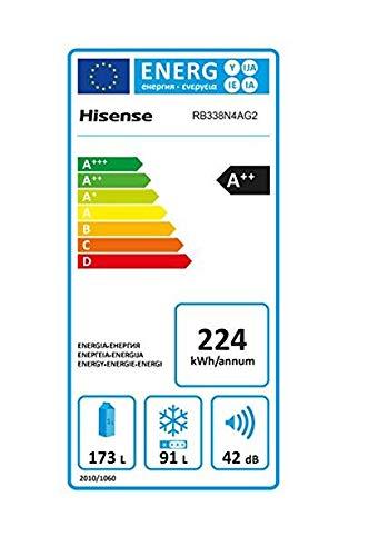 Hisense RB338N4AG2 Libera installazione 296L A++ Argento frigorifero con congelatore