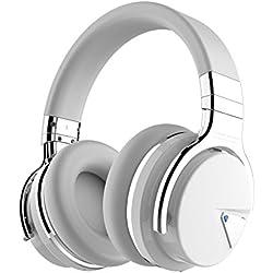 COWIN E7 Active Cancelación de Ruido Auriculares Bluetooth con Micrófono Hi-Fi Deep Bass Auriculares Inalámbricos Sobre El Oído, Cómodo Protein Earpads, 30 Horas Playtime Para Viaje - Negro (Blanco)
