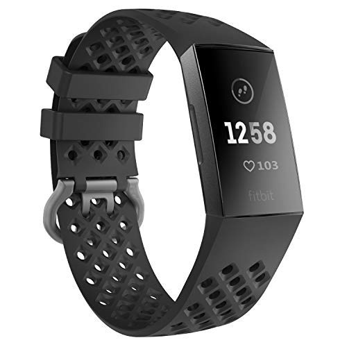 TiMOVO Sport Band for Fitbit Charge 3, Perforated Soft Silicone Adjustable Replacement Band Compatible with Fitbit Charge 3 Smart Watch - Black