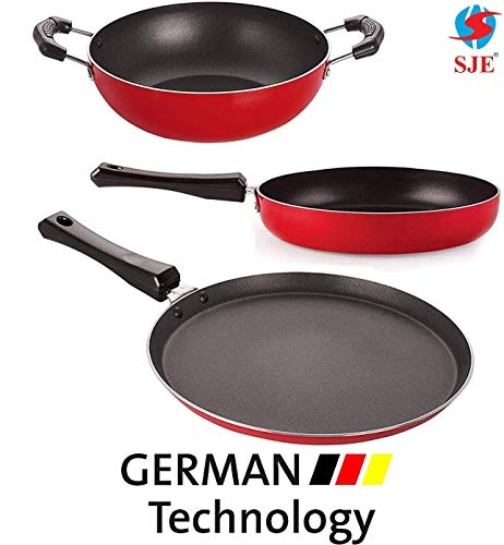 SJEWARE Non Stick Cookware Set Combo Fry Pan Non Stick Tawa Non Stick Kadai Non Stick Cooking Set Offer Gas Stove Only