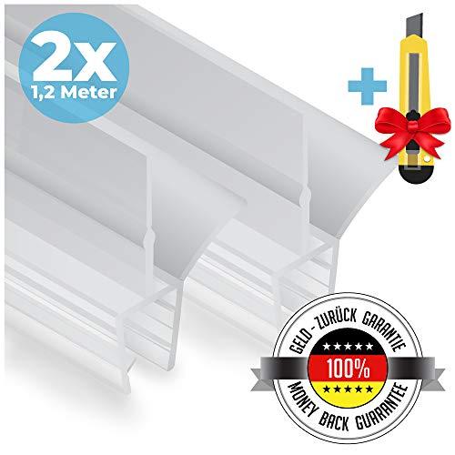 Premium Duschtür Dichtung 2 x 120 cm - Mit verlängerten Gummilippen für trockenen Boden im Bad -...