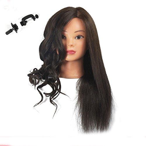Testina per parrucchieri con capelli veri 100% per esercitazione parrucchieri, cosmetologia (staffa per fissaggio inclusa)