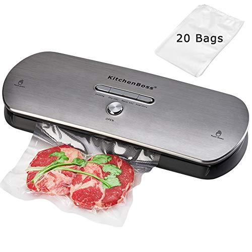 kitchenboss Macchina Sottovuoto Professionale,Sistema di Tenuta Automatico a Vuoto,Kit di Avviamento 20 Sacchetti+1 Tubo Accessorio-Acciaio inossidabile