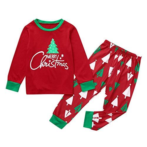 HULKY Set Genitore-figlio Abito Pajamas per Natale - Nuovo Albero di Natale e Lettera Stampa Maniche Lunghe Top - Pantaloni Xmas Famiglia Abbigliamento Pajamas Sets(Rosso 3,Bambini: 9-10 Anni)