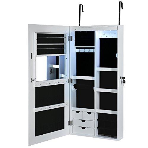 Songmics LED Hängend Schmuckschrank extra breiter Spiegel (Rahmenlose Spiegeltür) Türmontage/Wandmontage abschließbar weiß JBC102W