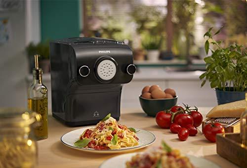 Philips HR2382/15 Machine à pâtes automatique 200 W avec fonction pesée et 8 disques de forme Gris cachemire