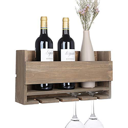 Vencipo Portabottiglie Vino Legno con 5 Calici Vino Rosso Organizer, Mensole da Muro Design per...