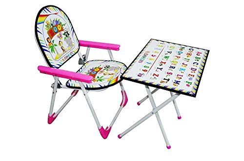 Digionics Foldable Multipurpose Table Chair Toy Set for Kids(Pink)