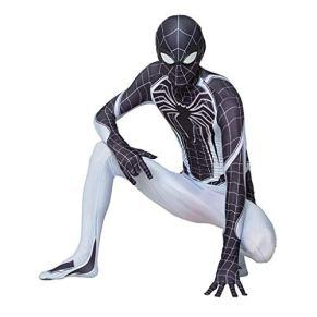 kksun Spider-Man Negativos del Espacio de Halloween Cosplay del Mono Mostrar el Mono del Mono de Lycra Spandex Vestido Ropa,Black- Children L