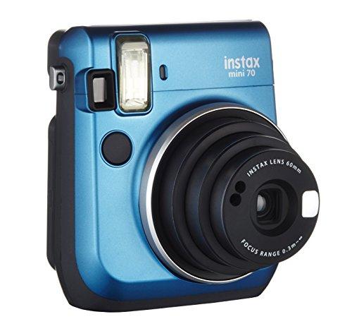 Fujifilm Instax Mini 70 - Cámara analógica instantánea (ISO 800, 0.37x, 60 mm, 1:12.7, flash automático, modo autorretrato, exposición automática, temporizador, modo macro), azul caribe