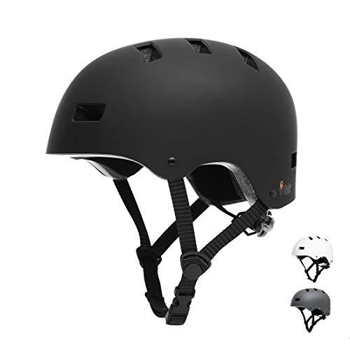 Vihir Erwachsene Fahrradhelm skaterhelm BMX fahradhelm Herren Damen Kinder Sport Helm für Männer & Frauen, Schwarz/S