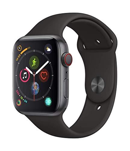 AppleWatch Series4 (GPS+Cellular) con caja de 44mm de aluminio en gris espacial y correa deportiva negra