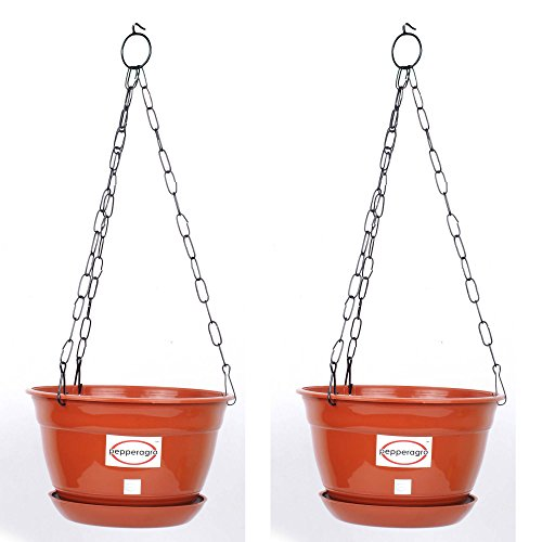 Pepper Agro GPA1023 Hanging Planter with Metal Chain and Base Plate (Terracotta)