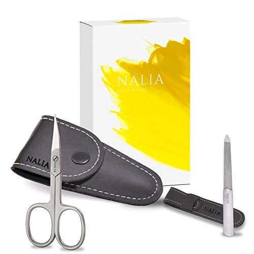 NALIA® Profi Nagelschere mit extra Nagelfeile – Einfach gepflegte Nägel – für jeden Tag | Lederetuis | Edelstahl | Rostfrei