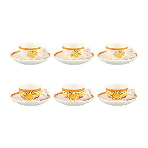 THUN, Set 6 Tazzine da caffè Espresso con Decorazione Sole, Porcellana, 100 ml, Ø 6 cm, Linea New...