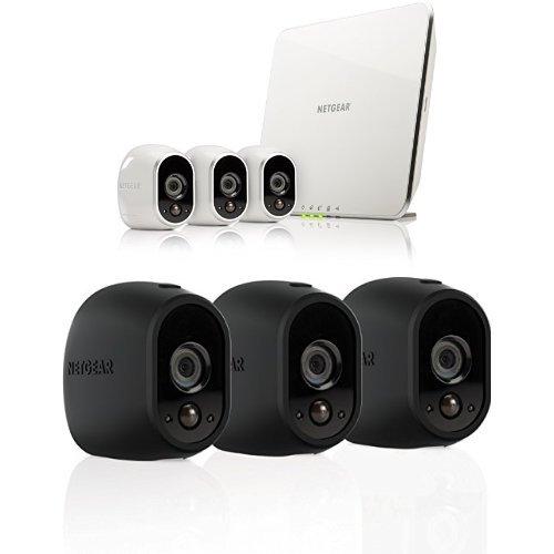 Netgear Arlo VMS3330-100EUS Kit con 3 Videocamere HD Wi-Fi per la Sicurezza Domestica + Netgear VMA1200B-10000S Arlo Smart Home Pack Cover Protezione delle Videocamere, Silicone, Resistenti all'Acqua e Raggi UV