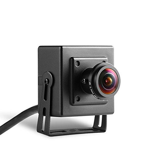 Revotech - POE Fisheye HD 1920 x 1080P 2.0MP Mini Tipo IP Telecamera Interno di protezione metallica Telecamera di Videosorveglianza ONVIF P2P CCTV Cam (I706-3-P nero)