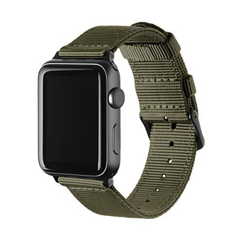 Archer Watch Straps | Premium Cinturino Ricambio di Nylon per Apple Watch | Fibbia e Adattatori in Acciaio Inossidabile e Nero | Cinturino per Uomo e Donna | Verde Oliva/Nero, 42mm