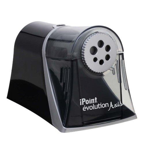 Westcott E-15509 00 iPoint Axis Elektrischer Anspitzer mit automatischem Spitz-Stopp, 6 verschiedene Öffnungen, grau/schwarz