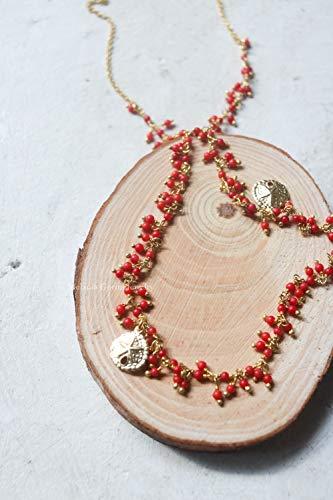 Collana ELBA in argento 925 placcato oro con palline di pasta di corallo rosso - made in Italy - ciondoli a forma di dollaro della sabbia