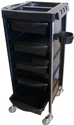 FIGARO rollbarer Beistellwagen Rack Boy aus Kuststoff mit Metall und Kunststoffwannen Farbe schwarz