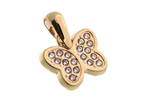 Silberketten-Store Colgante de mariposa con circonitas-333Oro amarillo
