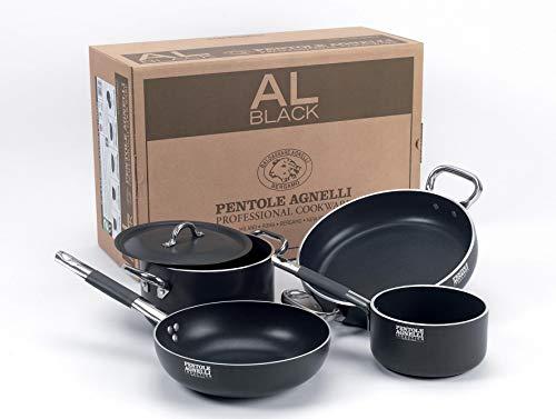 Set Batteria Pentole Agnelli per Induzione in allumino Antiaderente per 2-3 Persone al-Black