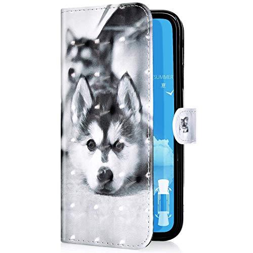 Uposao Kompatibel mit iPhone 11 Handyhülle Leder Tasche Bling Glitzer Luxus 3D Effekt Glänzend Muster Hülle Flip Wallet Case Brieftasche Klapphülle Ständer Kartenfach,Haustier