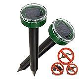 Nurkoo 2 Stück Solar Maulwurfabwehr IP65 Ultrasonic Solar Maulwurfschreck,Mole Repellent, Wühlmausschreck, Wühlmausvertreiber für Den Garten Rasen Hof-Grasgrün