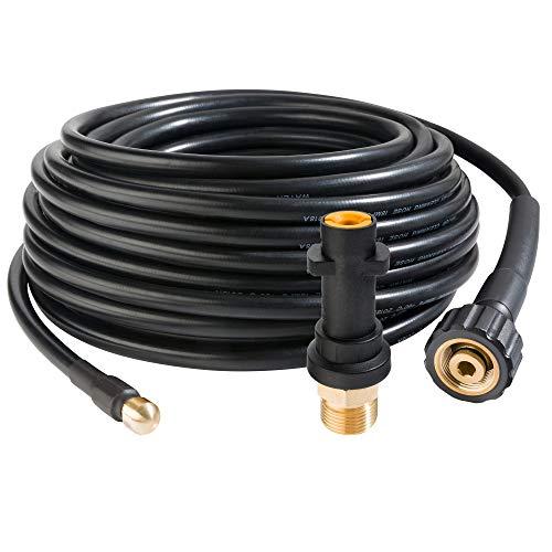 Arebos Rohrreinigungsschlauch 15 m / 180 bar/Geeignet für Hochdruckreiniger/Inklusive Adapter für Bajonett-Anschluss