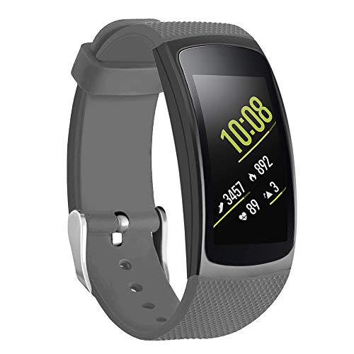 Isabake Cinturino per Samsung Gear Fit 2 Band/Gear Fit 2 PRO, Silicone Calzata Rapida Cinturini Accessori Compatibile con Samsung Gear Fit2 PRO SM-R365 / Gear Fit2 SM-R360 (Grigio)