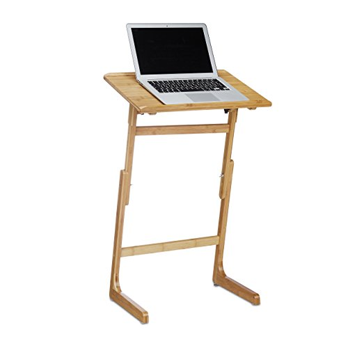 Reaxdays 10020779 Support pour ordinateur portable en bambou hauteur réglable tablette lit inclinable HxlxP: 78,5 x 49,5 x 32,5 cm, nature