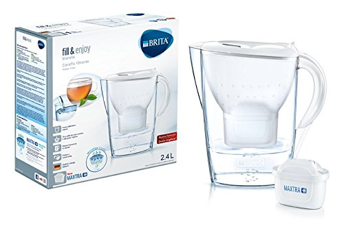 BRITA Marella - Caraffa filtrante per acqua, capacità 2.4 L, bianca, con 1 filtro MAXTRA+ incluso