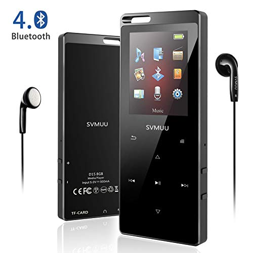 """SVMUU MP3 Player, Bluetooth 8GB Digital Musik Player 1.8\"""" TFT Bildschirm Audio Player mit Kopfhörer, UKW Radio, Schrittzähler, Schlaftimer und Sprachaufnahme Speicher Erweiterbar bis 64GB(MEHRWE)"""