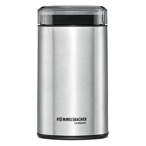 ROMMELSBACHER EKM 100 elektrische Kaffeemühle mit Schlagmesser aus Edelstahl (200 W, 70g Füllmenge, auch für Gewürze) Edelstahl, silber