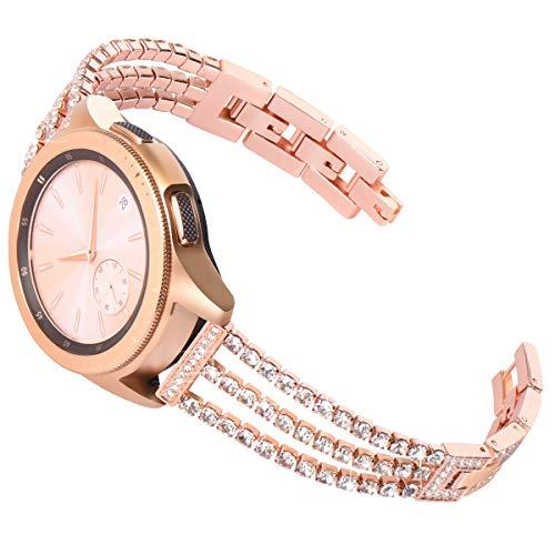 KADES Compatibile per Galaxy Watch 42mm Cinturino, 20mm Bling Braccialetto per Galaxy Watch Active Cinturino, Galaxy Watch Active2 40mm 44mm Cinturino, per Garmin Vioactive 3 Cinturino (Rose Gold)