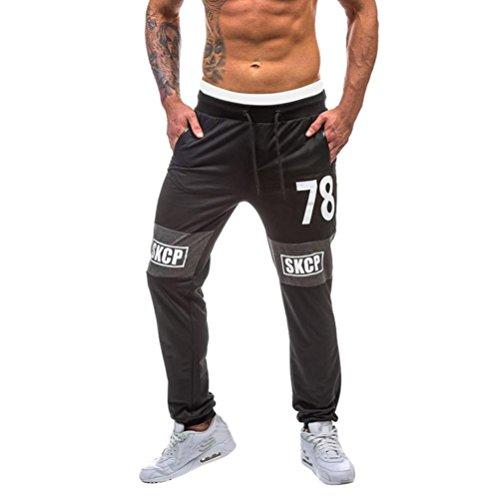 Amlaiworld Pantalones de Deporte Hombre Pantalones de Chándal para Hombre Pantalón Deportivo Jogger para Fútbol Gimnasio Aptitud Ejercicio Running Ciclismo Pantalones largos Joggers Gimnasio Al aire libre Pantalon de Correr (Negro, XL)