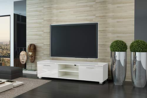 MMT HT01 - Mobile porta TV bianco lucido per 40 49 50 55 65 pollici 4K TV 140 cm di larghezza,...